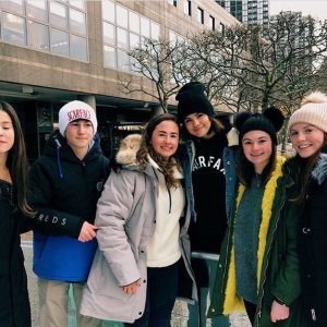 Selena with fans on ice skate rink