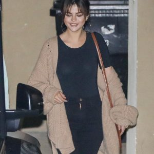 Selena leaving Bible study lesson tonight in Los Angeles