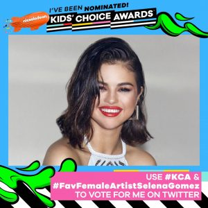 Vote for Selena on Nickelodeon Kids Choice Awards 2018