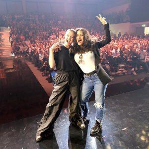24 April Selena with Salma Hayek at the Puma Vision HQ in Germany