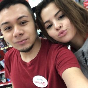 April 16 Selena with a fan at Target
