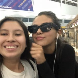 7 September Selena with a fan in New York