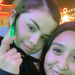 3 June Selena with a fan at Disneyland in Anaheim, California