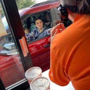 9 September Selena at Whataburger in Grand Prerie, Texas