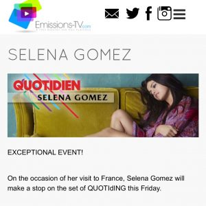 "10 December Selena will appear on french TV show ""Quotidien"" this friday"