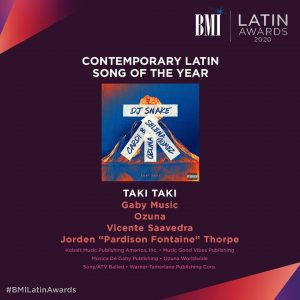 "19 May @bmi on Instagram:  ""Taki Taki"" is our 2020 Contemporary Latin Song of the Year!"