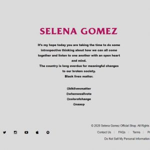 1 June Selena's official web site right now looks like this