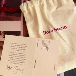 10 September check out cute Rare Beauty bag and card with the message from Selena