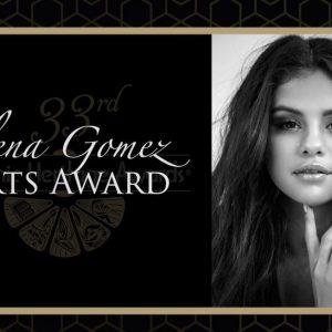 "6 October Selena accepting ""ARTS Award"" at at the 33rd annualHispanic Heritage Awards"