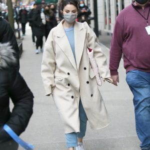 17 January Selena arriving at her trailer on set of Only Murders In The Building
