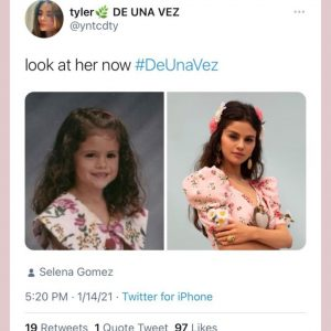 15 January Selena RTed and then shared post from a fan via her IG story