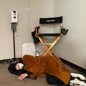 "12 February Selena sleeping on the floor on set of ""Only Murders In The Building"""