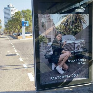 26 February Puma Cali Star billboards with Selena spotted at the bus stop in Tel Aviv