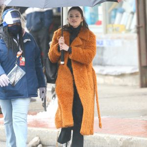 "23 February Selena walking with umbrella on set of ""Only Murders In The Building"" in New York"