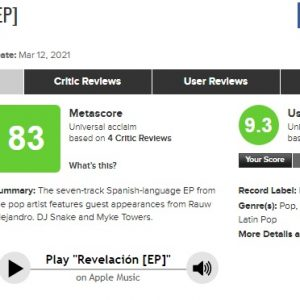 3 April Revelacion debuted with total metascore of 83 on Metacritic