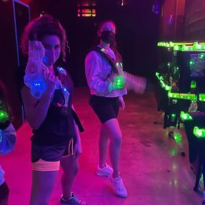 12 September: Selena with friends and Grace playing Lasertag tonight